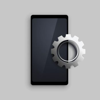 mobile with 3d setting metallic gear background