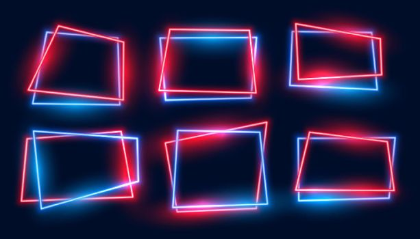 geometric rectangular neon frames set in red and blue colors