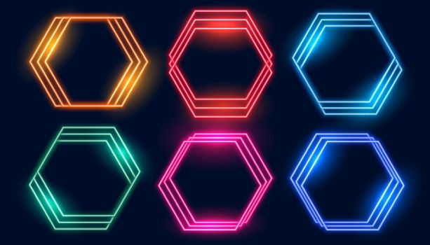 hexagonal neon frames set of six colors