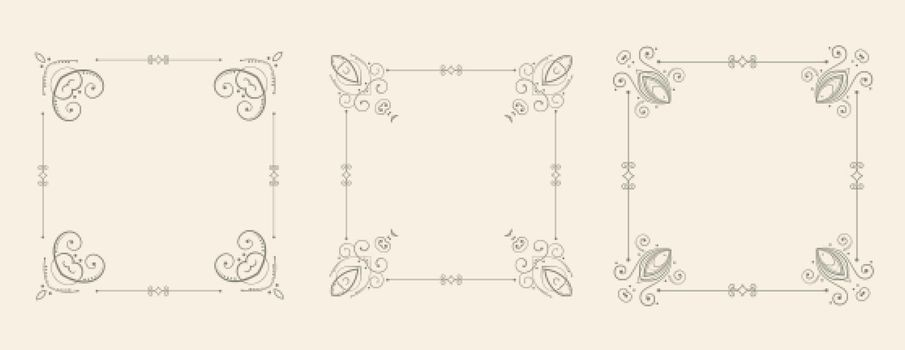wedding style floral frame borders decorative set