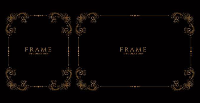 decorative wedding floral frames borders set design