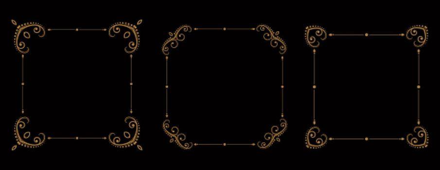 vintage floral frames borders set of three
