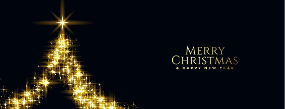 merry christmas golden sparkle tree banner design
