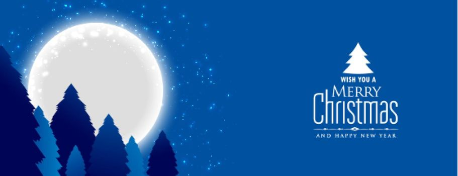 merry christmas night landscape with full moon