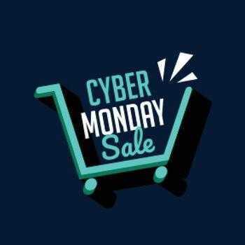 Cyber monday sale shopping cart tech background