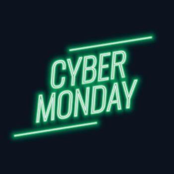 Neon cyber monday sale stylish tech background
