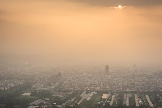 buildings in the mist