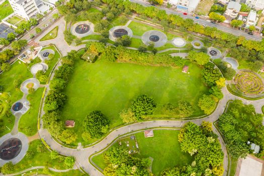 green and funny park at a city