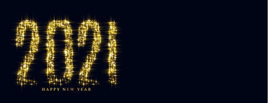 Glowing sparkle banner of happy new year 2021
