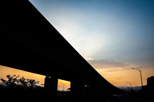 highway bridge silhouette in the city