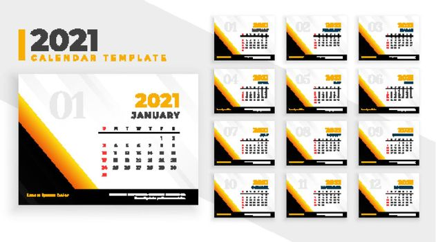 2021 new year design calendar design template