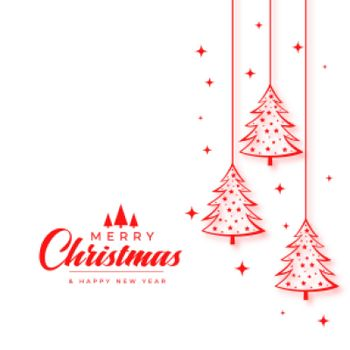 christmas wishes card with tree in line style