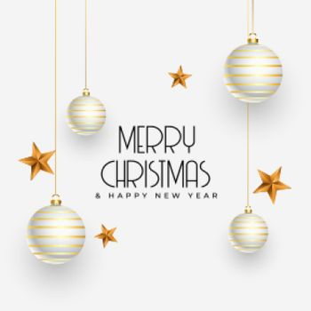 christmas greeting design with realistic decoration elements