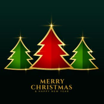 red green christmas golden trees background design