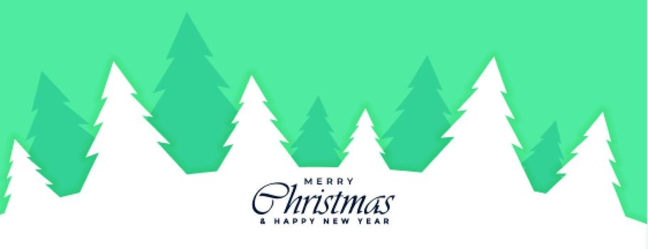 flat merry christmas banner with xmas trees