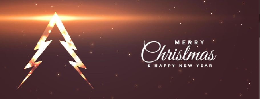 shiny merry christmas tree banner with light effect