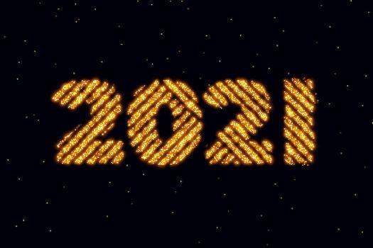 2021 text written in golden sparkle style background