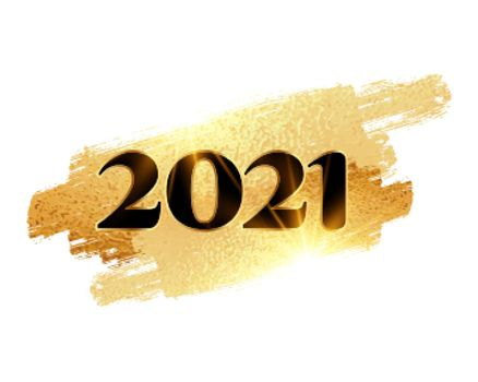 happy new year 2021 background with golden brush stroke