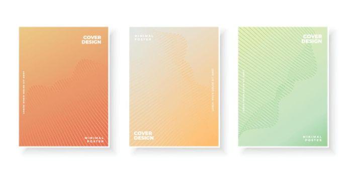 Colorful gradient covers design set for presentation