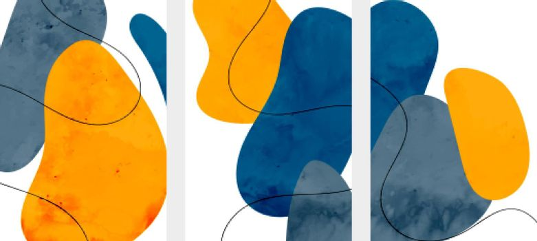 abstract minimalist flyers set in fluid watercolor style