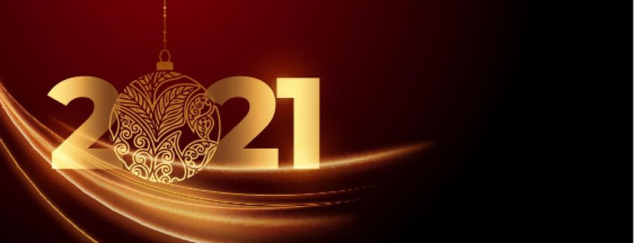 New year 2021 with bauble celebration background