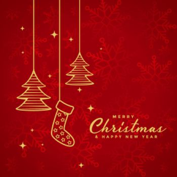 red merry christmas background with xmas elements design