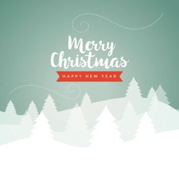 merry christmas classic winter scene card in vintage colors