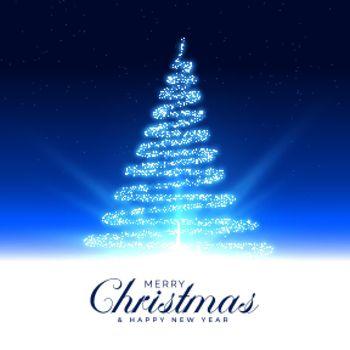 merry christmas beautiful magical tree card design