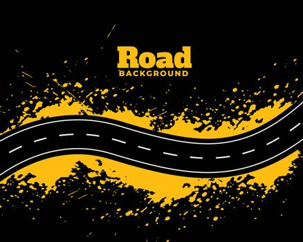 abstract road pathway with yellow splatter