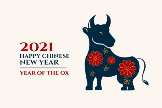 Chinese happy new year of ox greetings