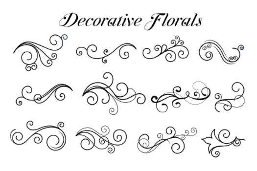 decorative swirl floral ornaments collection
