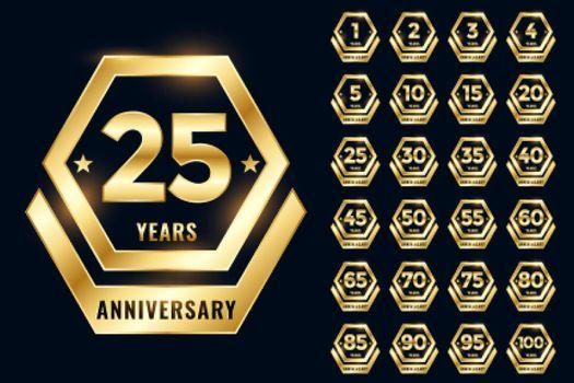 golden anniversary label emblem set