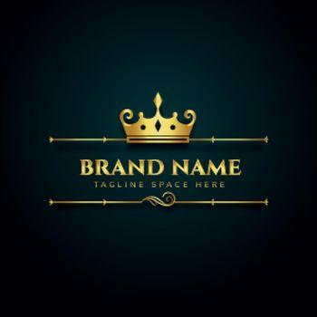 luxury brand logo with golden crown design