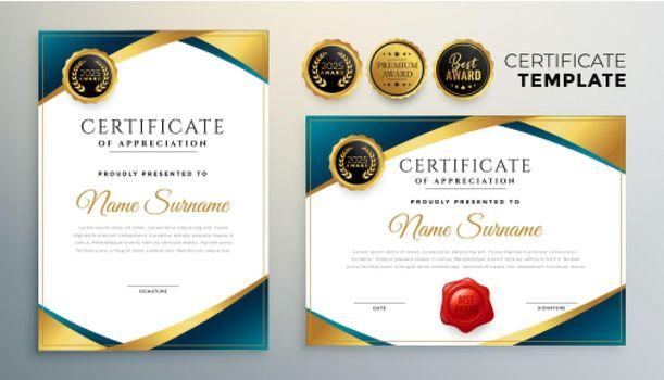professional certificate design in premium golden theme