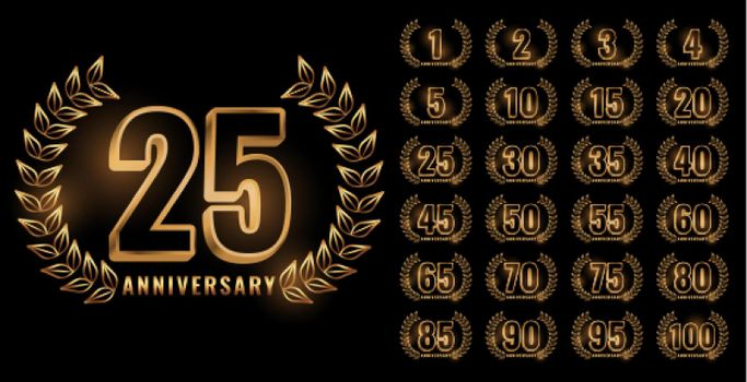 set of anniversary labels in golden color