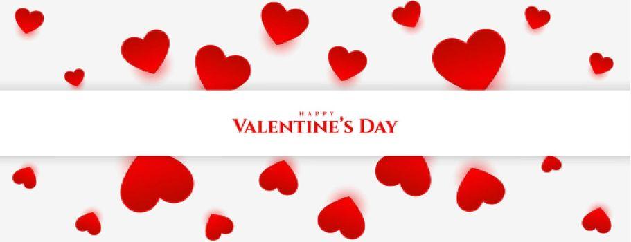 wide valentines day hearts banner design