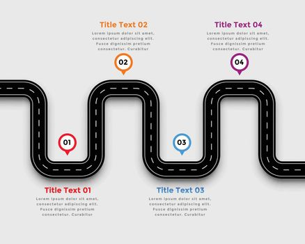 winding road pathway infographic template design