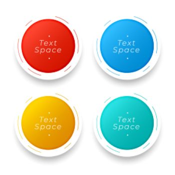 3d circular buttons in four colors
