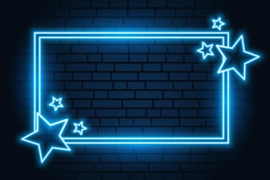 blue neon star rectangular frame with text space