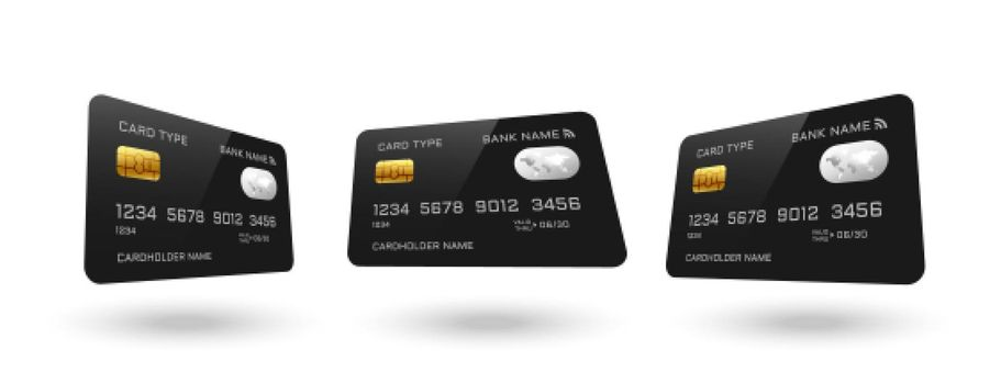 credit card mockup in different angles design