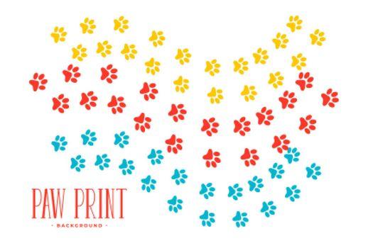 dog or cat paw prints trail design
