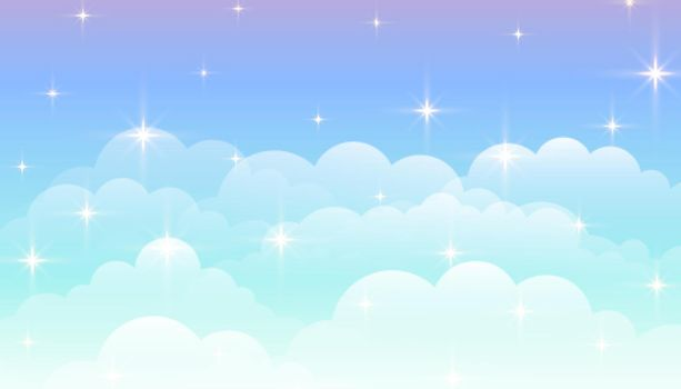 dreamy magical clouds background with stars