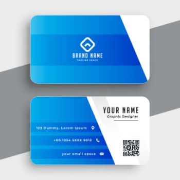 elegant business card in blue color