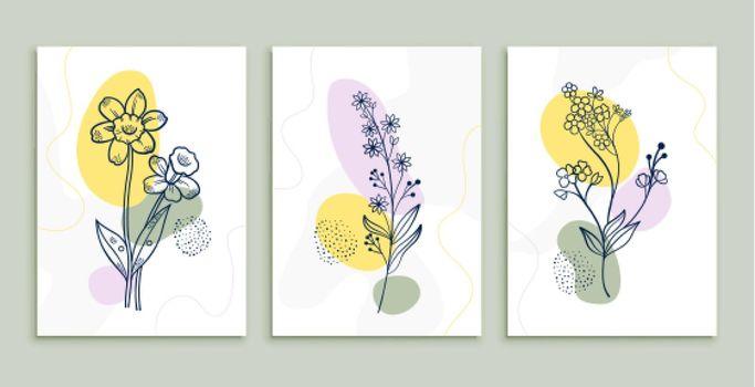 flower line drawing posters set minimal botanic art