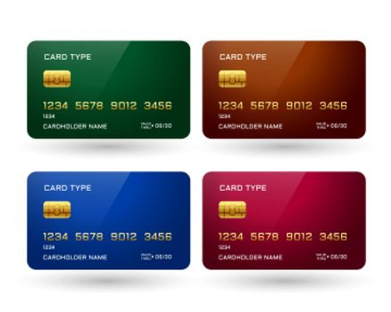 four credit cards mockup in different colors