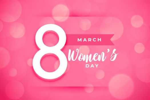 happy womens day background in pink color