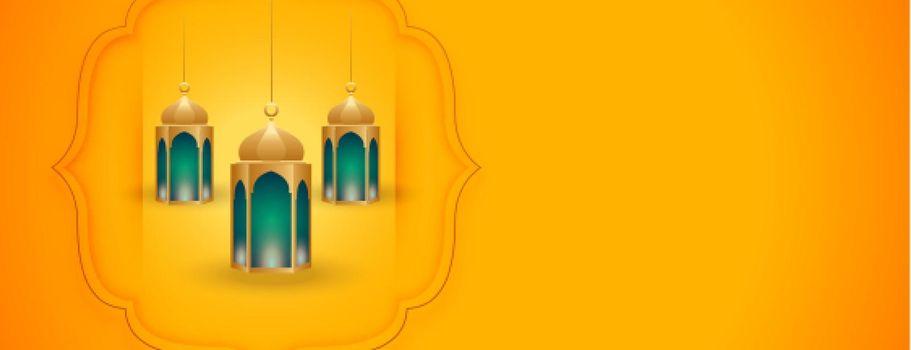 islamic background with arabic lantern design