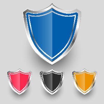 metallic badges shield symbols set design