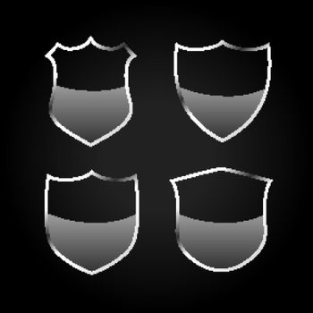 metallic black shield or badges icons set