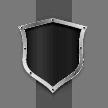 metallic shield symbol or badge design